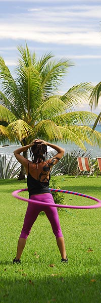Florenzia hooping at Hotel Amor de Mar
